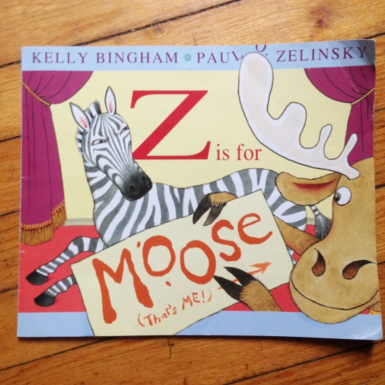 Z is for Moose, by Kelly Bingham and Paul O. Zelinsky, an alphabet book from www.ameliesbookshelf.com
